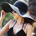 2015 Summer Women's Foldable Wide Large Brim Beach Sun Hat Straw Beach Cap For Ladies Elegant Hats Girls Vacation Tour Hat ZL136