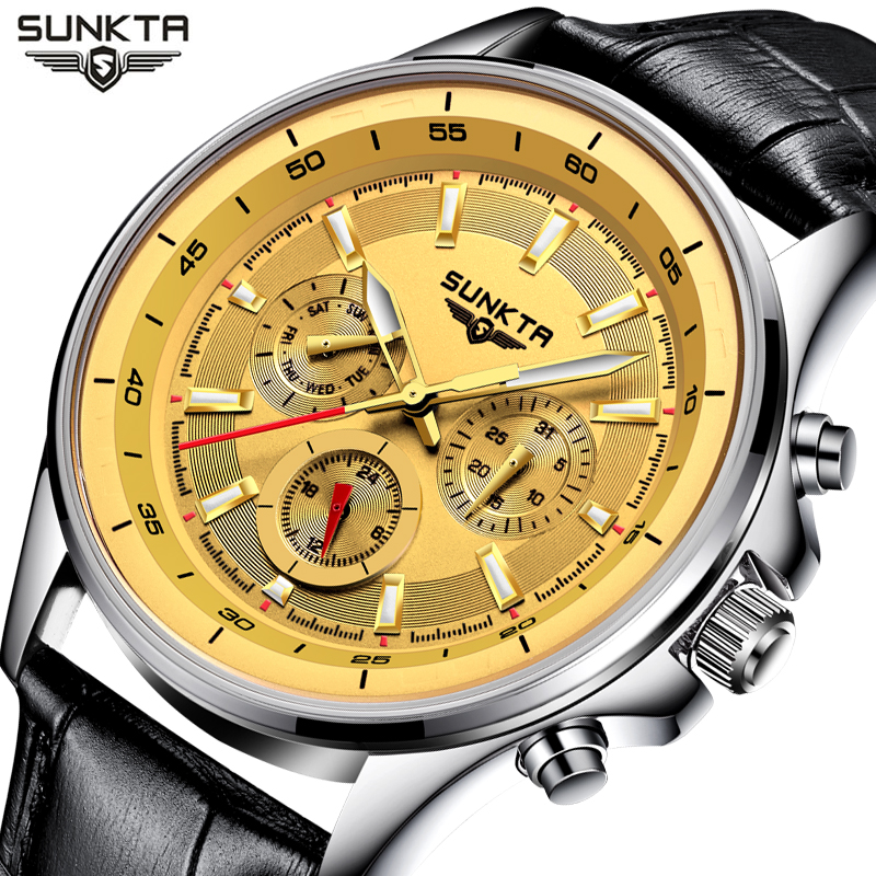 SUNKTA Watch Men Luxury Fashion Business Waterproof  Watches Mens Top Brand  Casual Sport Quartz Wristwatch Relogio Masculino relogio masculino chronograph mens watches top brand sinobi luxury fashion business quartz watch man sport waterproof wristwatch