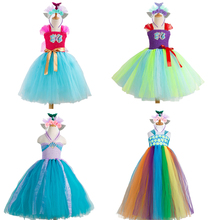 Cute Mermaid Dress Girls Costume Child Cosplay Halloween For Kids Tutu Skirt Carnival Party Suit