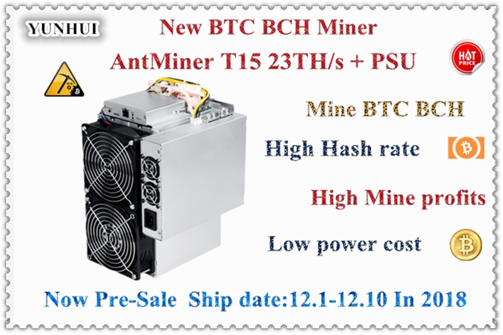 Newest BITMAIN AntMiner T15 23T 7nm BCH BTC SHA 256 Miner Better Than T9 S9 S9j
