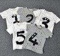 1 unids nuevo 2016 verano de algodón bebé patrón de la letra camisetas de las muchachas número de impresión de los bebés camiseta ocasional para tapas recién nacidos ropa