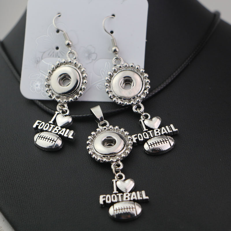 2sets Women Chorker Necklace Earring Jewelry Sets Fit I Love FootBall Metal Charms 12mm Snap Button Diy Snap Jewelry 10styles!