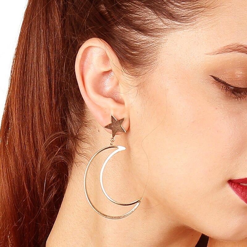 Moon Earrings Fashion Jewelry Accessories Star Golden Long Dangling Earring Pendientes Statement Earrings Funny Drop Earring