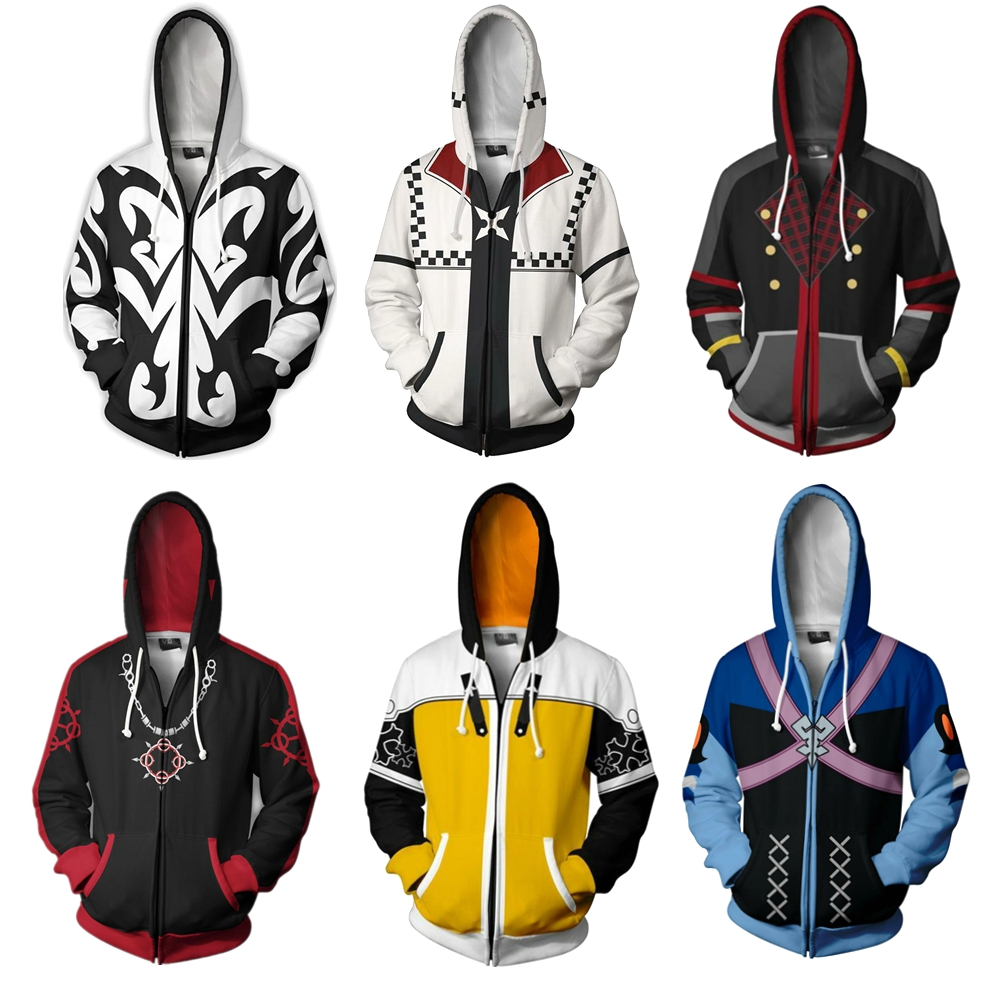 Kingdom Hearts II 2 Xemnas Cosplay Hoodies Anime 3D Printed Sora Sweatshirt Men Women zipper Cartoon Hood sweater Jackets Coats