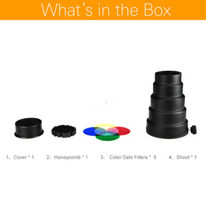 Image 2 - Godox SN 02 Conical Snoot Honeycomb Grid Light Beam Tube for Universal Mount Studio Strobe Flash K 150 K 180 250SDI 300SDI