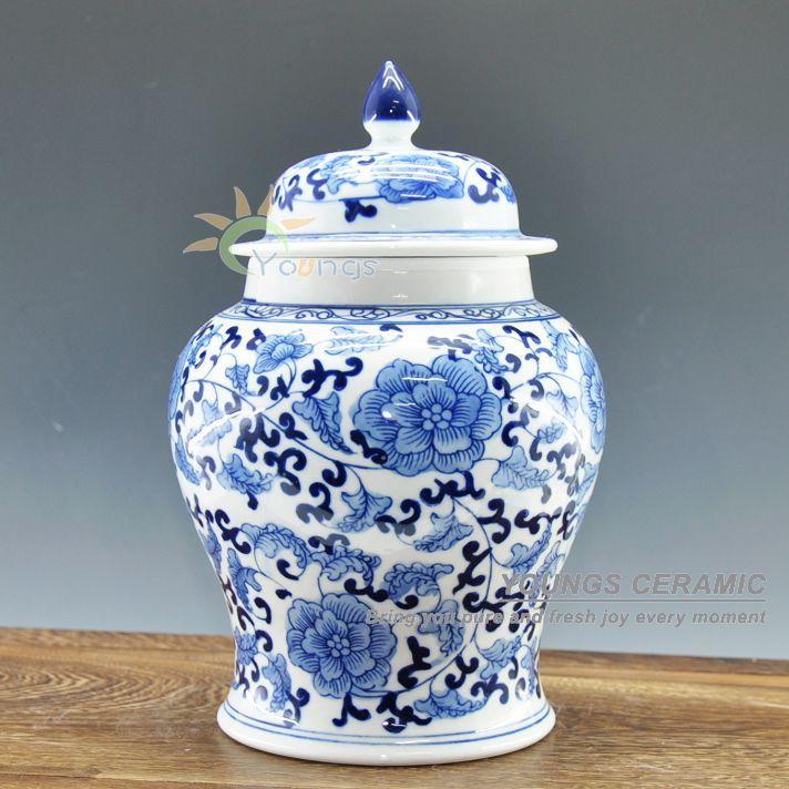 Handgemalte klare blaue und weiße Keramik Porzellan Floral Ingwer Gläser