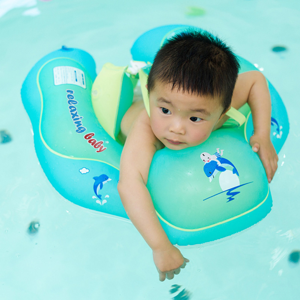 1pcs Neck Float Swimming Newborn Baby Swimming Neck Ring With Pump Gift Mattress Cartoon Pool Swim Ring 0-2 Years Old Baby Activity & Gear