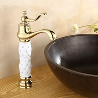 2014 Luxury NEW Faucet Gold Plated Bathroom Sink Faucet Mixer Double Crystal Diamond Handle Brands Free