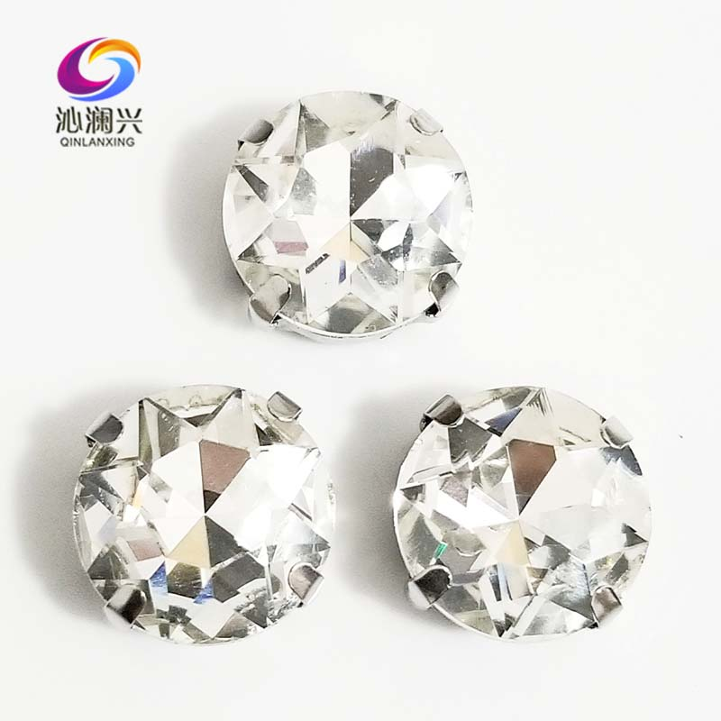 White Round Shape High Quality Glass Crystal Sew On Claw Rhinestones,Diy Clothing Accessories 8mm/10mm/12mm/14mm/16mm/18