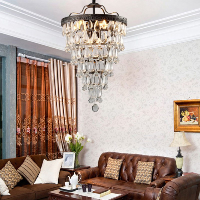 Image 5 - Retro vintage cooper crystal drops E14 LED chandeliers/LARGE European EMPIRE STYLE lustres chandelier Lighting for living room-in Chandeliers from Lights & Lighting