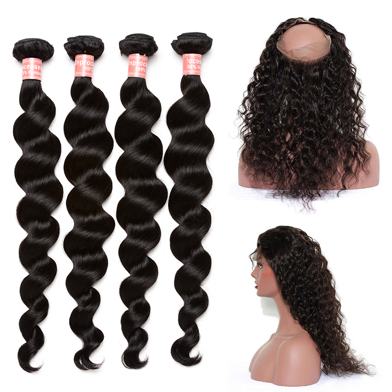 4 бразильские пучки волос плетение с 360 Кружева Фронтальная застежка свободная волна человека пучки волос с закрытием 5 шт. Мёд queen Remy