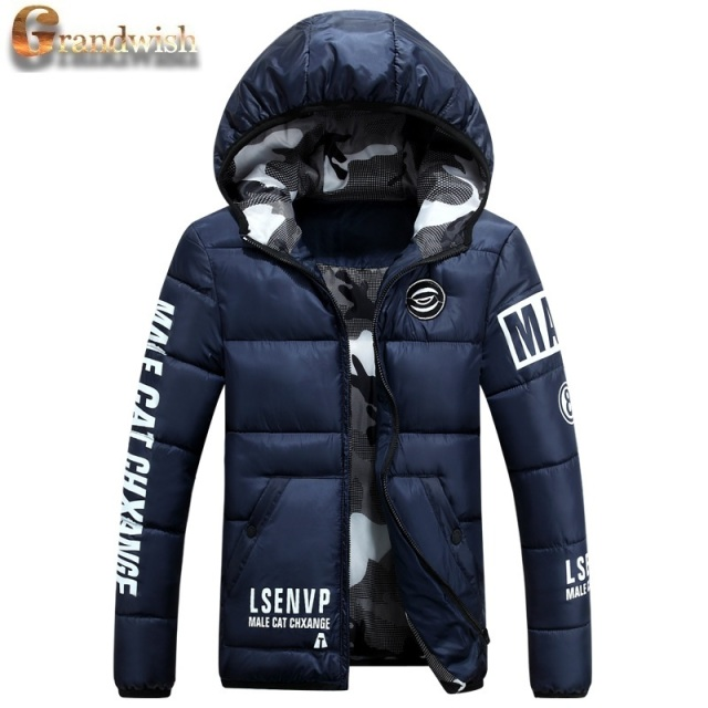 Grandwish Warm Men's Winter Jackets Printed Quilted Padded Cotton Mens Down Hooded Coats Thicken Winter Parkas Male 3XL,PA646