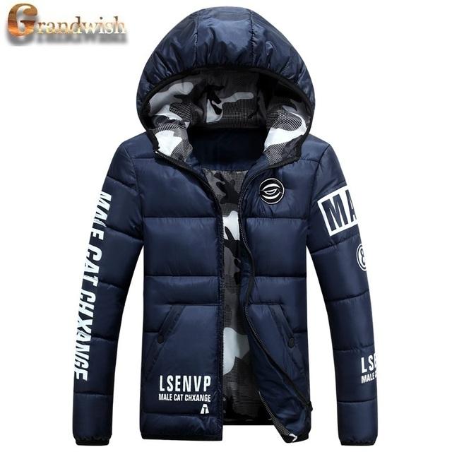 Grandwish quentes casacos de inverno dos homens acolchoado impresso algodão acolchoado dos homens para baixo casacos de capuz engrossar parkas inverno masculino 3xl, pa646