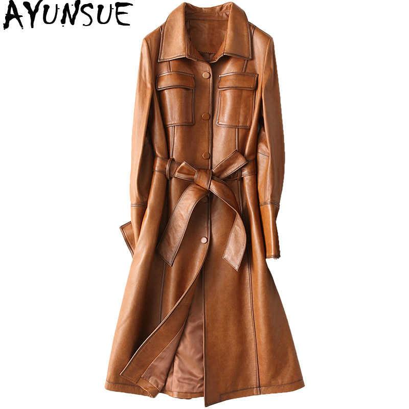 AYUNSUE/Женская куртка из натуральной кожи 2019, винтажное пальто из натуральной овчины с поясом, длинный тренч на весну и осень, Женский 28214 YQ2178