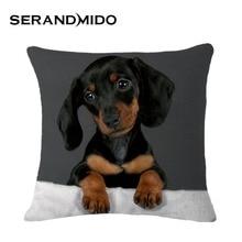 8 Diseños de Moda Vintage Cojín Almohada Decorativa Casos Capa Almofade Negro Modelo Del Perro para el Sofá Decoración Casera SMC956T
