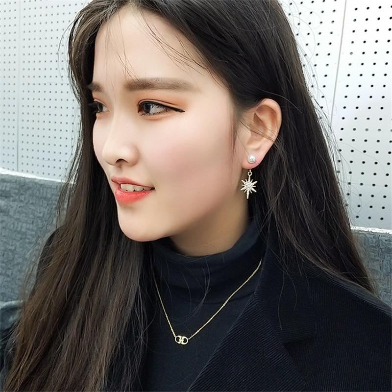 Korean Handmade Silver Needle Anti allergy Snowflake Pearl Rhinestone Drop Dangle Earrings Fashion Jewelry BYD5 in Drop Earrings from Jewelry Accessories