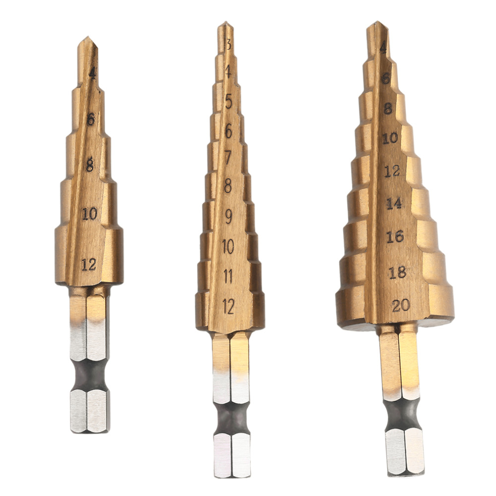 3pcs/set Hexagonal Shank Step Drill Cone Bit Hole Groove Metal Wood Cutter High Speed Steel Drilling Power Tools 3-12,4-20,4-12