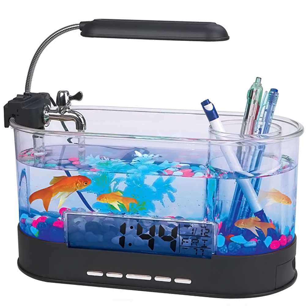 Usb mini aquarium fish tank - 5 In 1 Multi Functional Mini Acrylic Fish Bowl Tank Usb Led Desk Lamp Pen