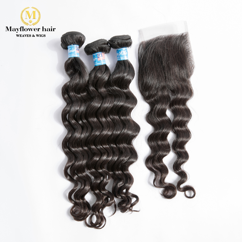 "100% Virgin Malaysian Natural Wave Hair With 4x4"" Swiss Lace Closure 3/4 Bundles Mayflower Full Cuticle Natural Black Hair"