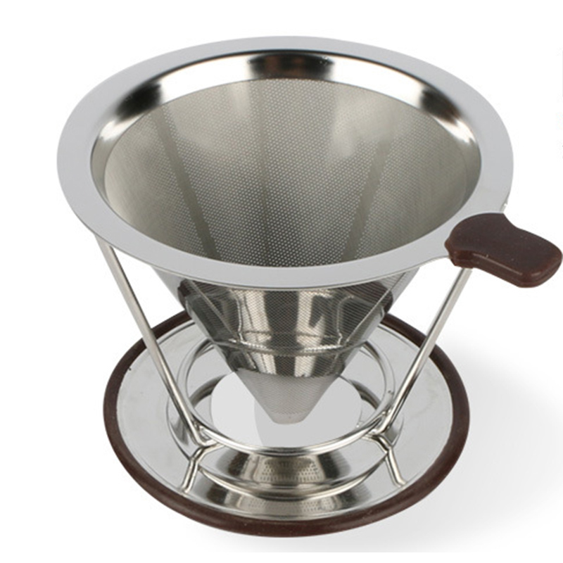 Stainless Steel Coffee Filter Reusable Holder Sets Brew Drip Cone Funnel Metal Mesh Tea Filter Basket Tools Kitchen Goods Sieve