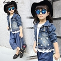 Autumn spring children clothing child clothes baby girl Lace stitching outerwear coat girl's jackets denim kid tops jean wear