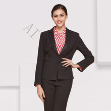 Fashion Women Evening Pant Suits 2 Piece Female Office Uniform Long Sleeve Black Casual Slim Fit OL Formal Work Wear Custom
