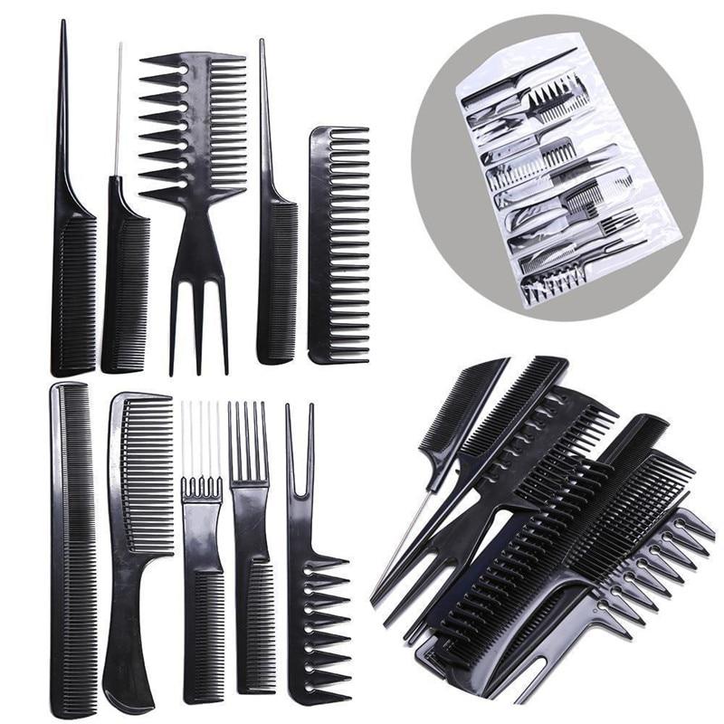 Pro 10Pcs Anti-Static Hair Comb Brush Kit Quality Hair Styling Comb Set Black Hairdressing Barber Brush for Hair Salon