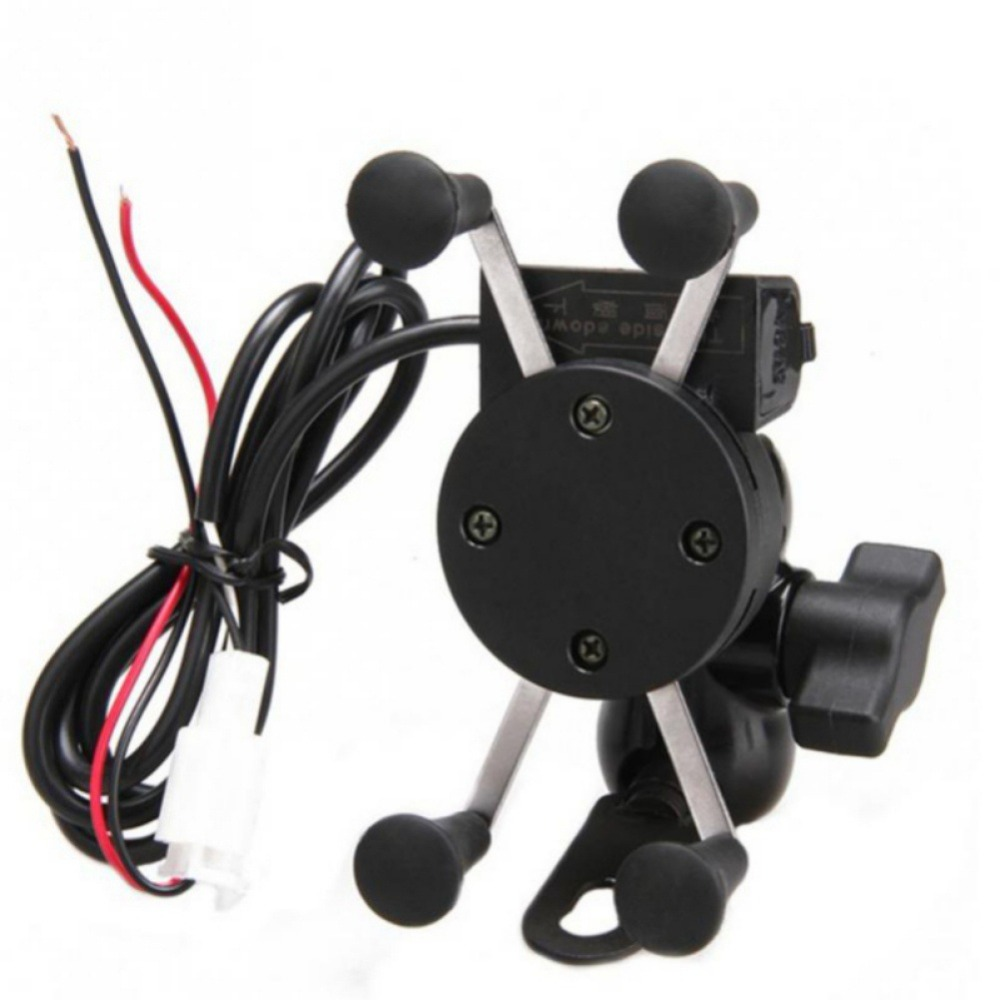 New Universal 2 In 1 Motorcycle Motorbike Phone Holder USB Charge Holder 360 Degrees Rotation GPS Phone Mount