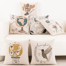 Mediterranean Simple modern Plant birds pattern Linen Cushion Cover Pillow Case Sofa Chair Waist Pillow cover Home Decorative