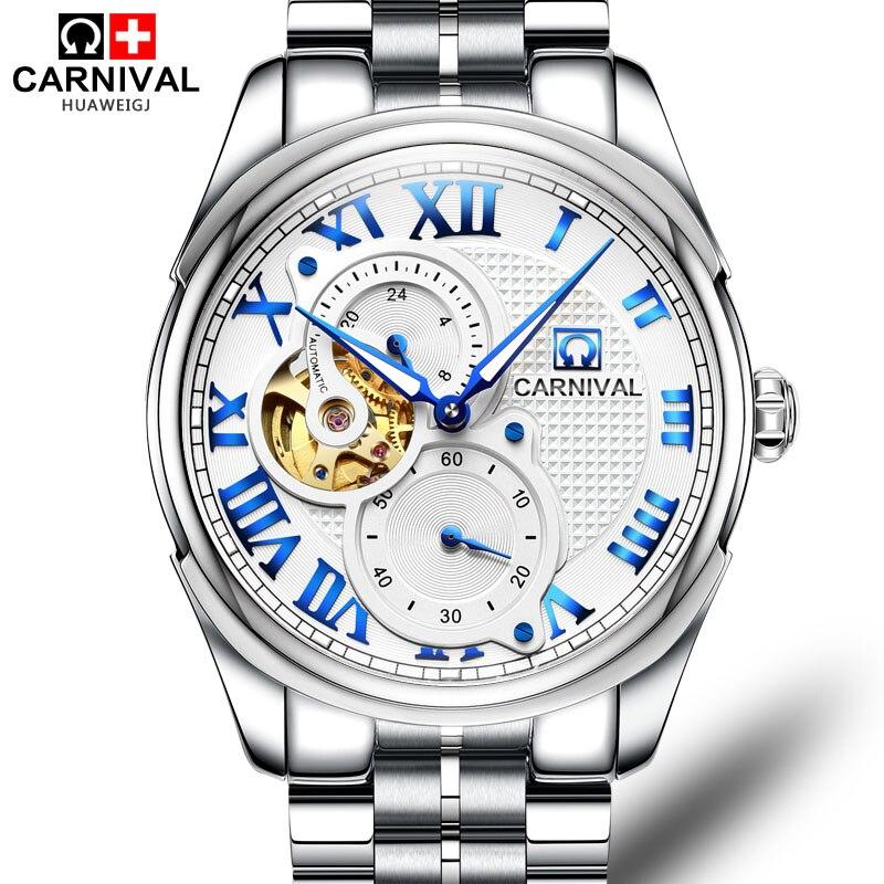 Здесь можно купить  Carnival Creative Automatic Mechanical Watch Men Stainless Steel Waterproof Wristwatches Dress Military Male Clock saat erkekler  Часы
