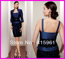 2013 Royal Blue Lace Short Mother of Bride Gowns Special Occasion Dresses With Jacket M1055