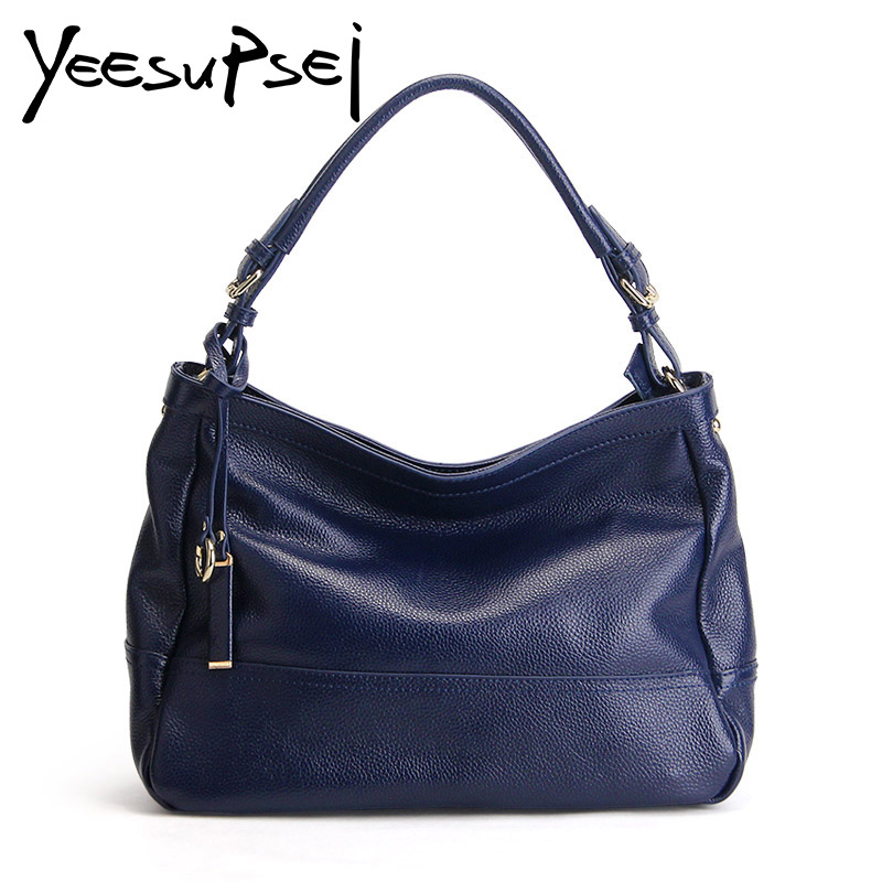 YeeSupSei Women Bag Genuine Litchi Leather Bag Fashion Clasp Ring Women Soft Handle Handbag High Quality Elegant Shoulder LadyYeeSupSei Women Bag Genuine Litchi Leather Bag Fashion Clasp Ring Women Soft Handle Handbag High Quality Elegant Shoulder Lady