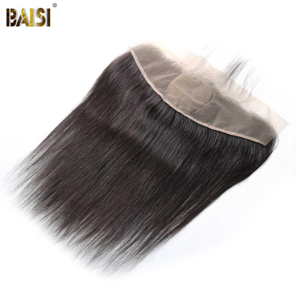 BAISI бразильские виргинские волосы шелковая основа фронтальная, прямой фронтальный Размер 13*4, сорванные натуральные волосы линия