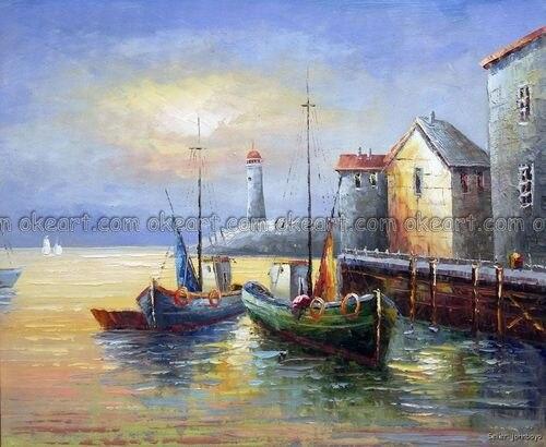 100% hand geschilderd Oude Vissersdorp Boten Docks Pier