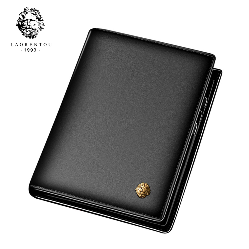 Laorentou Men Wallet Leather Casual Wallet for Men Genuine Leather Short Wallet Vintage Man Purse Standard Wallets Card Holders man standard wallets crazy horse leather 2018 new fashion men brand vintage genuine leather wallet card
