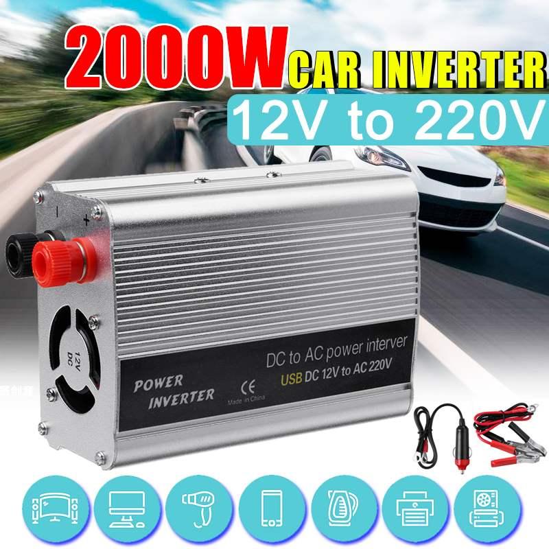 Roak 2000 W DC 12 V a CA 220 V USB coche inversor cargador adaptador DC 12 a transformador de onda sinusoidal modificada AC 220
