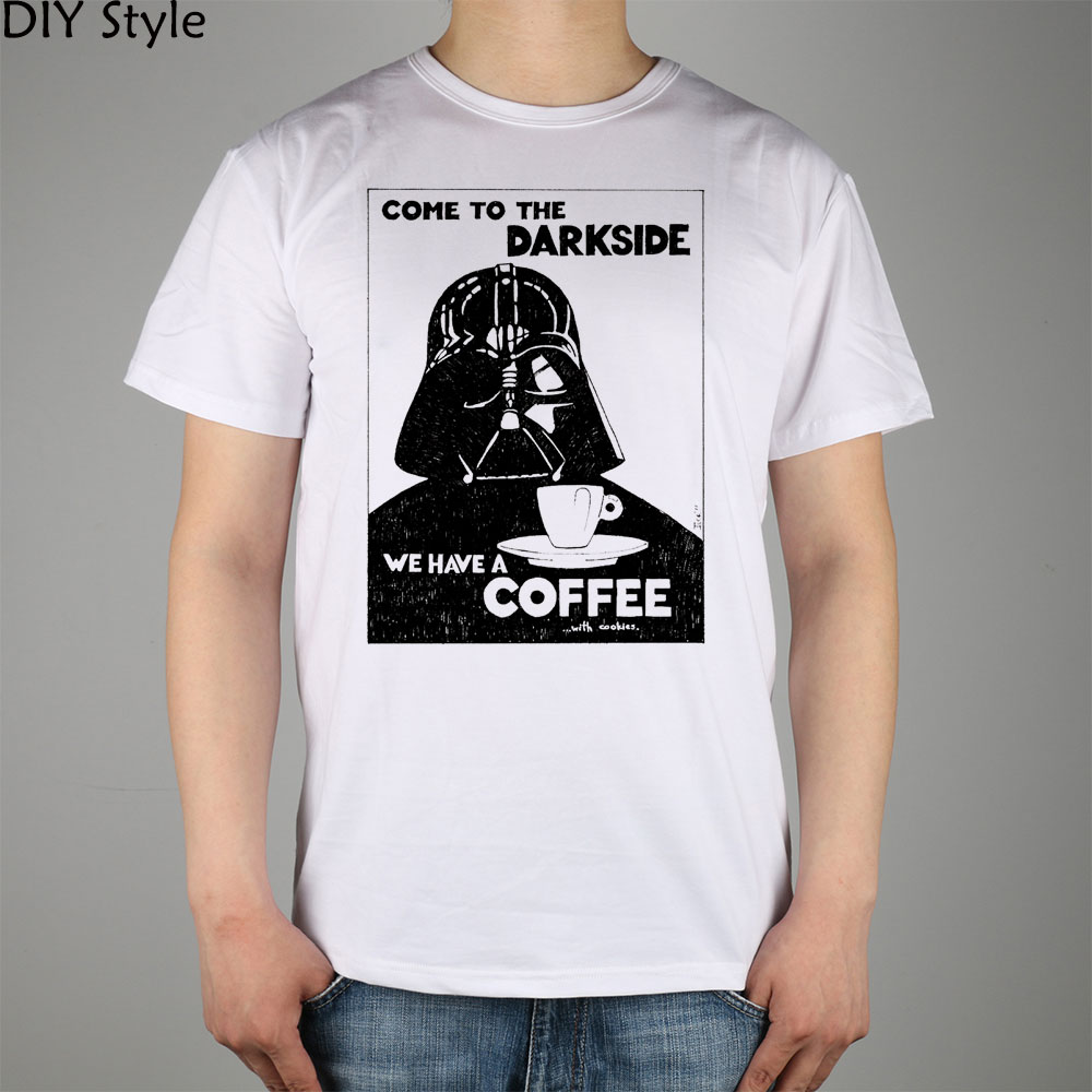 Star Wars come to DARK SIDE we have a coffee T-shirt cotton Lycra top Fashion Brand t shirt men new high quality