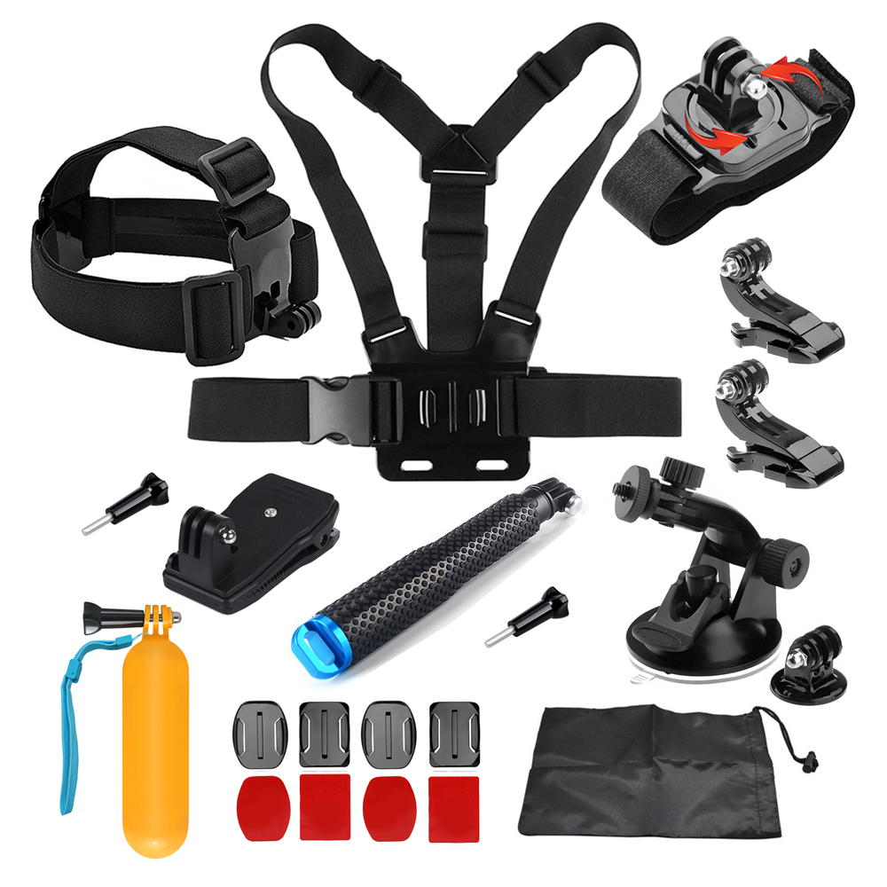 JMFOTO Set d'accessoires de base pour GoPro Hero 5 6 4 3 SJCAM Yi 4 k Eken h9 tête de caméra Action sangle de poitrine monture Pro monopode Grip