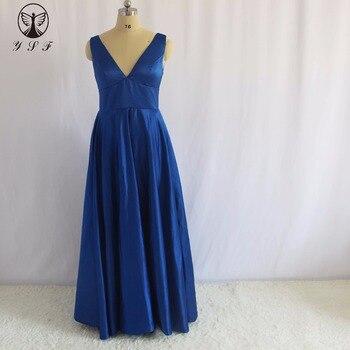 Cheap Royal Blue Wedding Party Dresses Plunging V Neck Sleeveless Empire Waist A Line Bridesmaid Dresses 2017