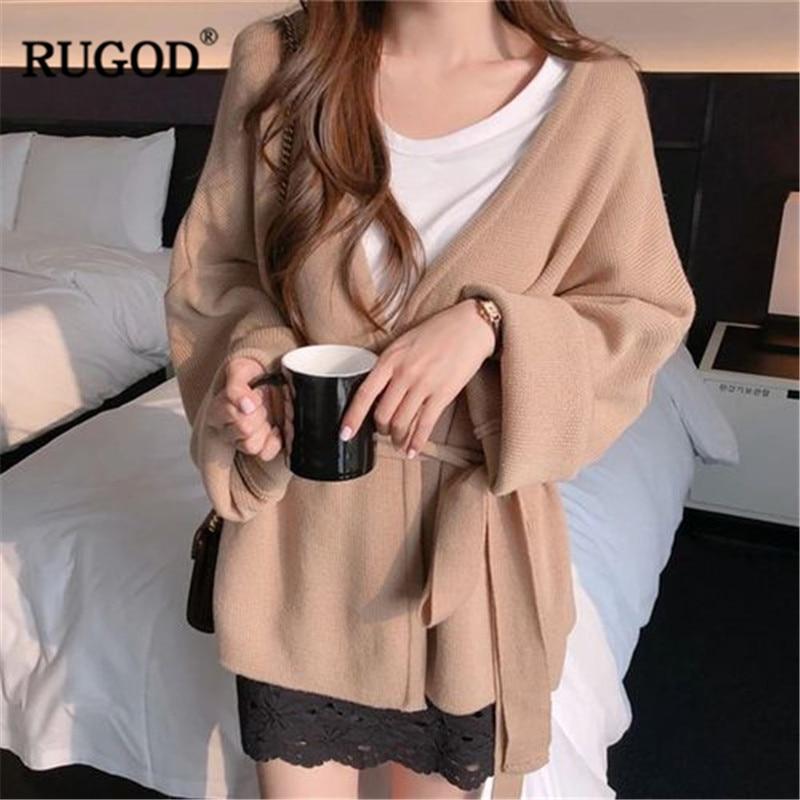 Image 4 - Женский кардиган с длинным рукавом RUGOD, однотонный Повседневный  вязаный свитер с поясом, осенне зимняя одежда, 2019Кардиганы   -