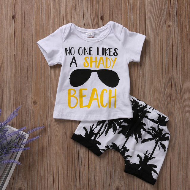 Pudcoco Infant Clothing Boys Shorts and T shirt Top Baby Boys Summer Clothes Set Printed Cotton