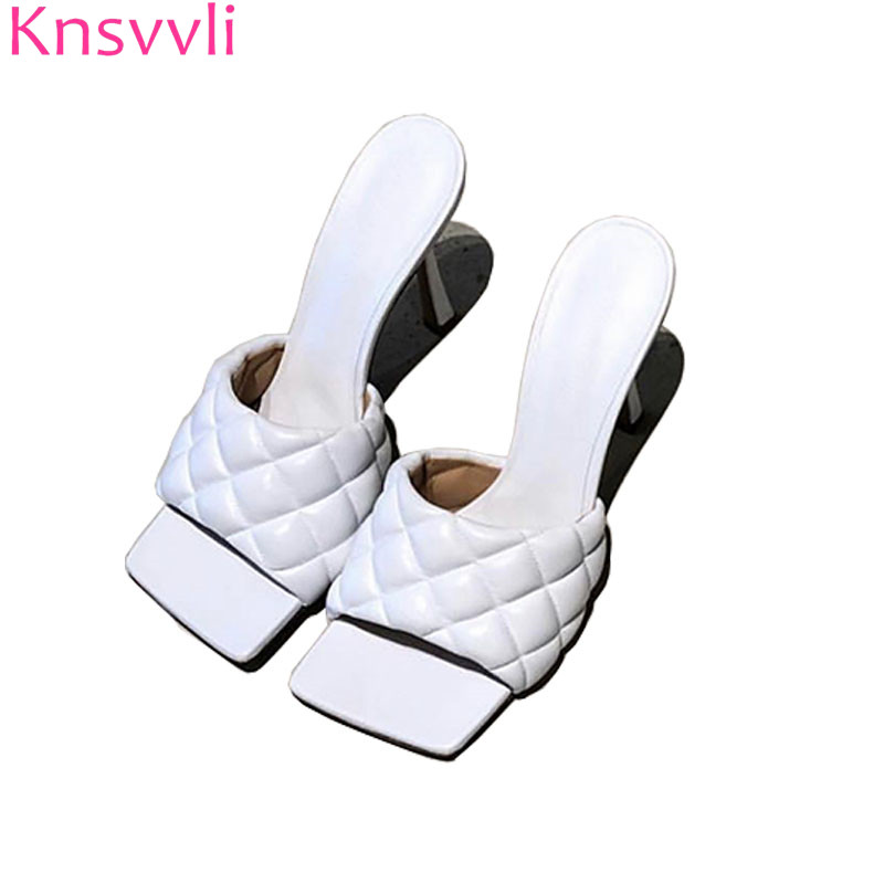 Knsvvli White Gingham Pattern Slippers Women Thin High Heels Summer Slip On Shoes Woman Genuine Leather Fashion Zapatos Mujer-in Slippers from Shoes    1