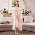 Mujeres Robe Set Conjunto Ropa de Dormir Dulce Camisón Real Gasa Priness larga Bata Bata Bata de Encaje Laciness 2017 de Primavera y Verano conjunto