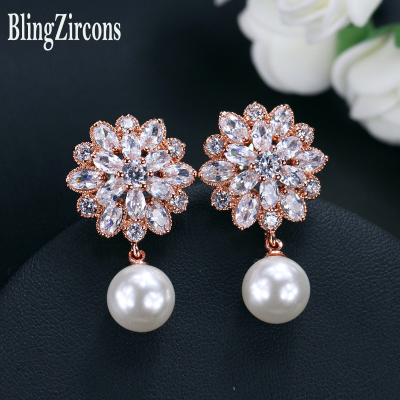 BlingZircons Brand Trendy Women Pearl Drop Dangle Earrings Rose Gold Color Cubic Zirconia Crystal Jewelry For Bridesmaid E069