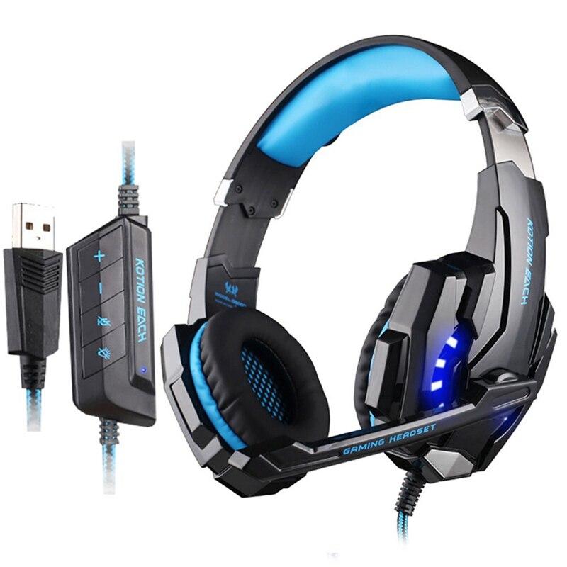 Kotion Each zestaw słuchawkowy do gier 7.1 USB dźwięku przestrzennego słuchawki do komputera PC dla graczy Gamer 7.1 słuchawki do gier na komputer z mikrofonem doprowadziły światła w Słuchawki/zestawy słuchawkowe od Elektronika użytkowa na  Grupa 1