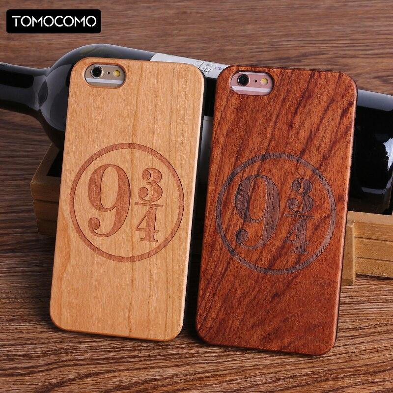 TOMOCOMO Harry Potter Poudlard Motif Design Vrai Bois Téléphone Cas Couverture pour Iphone 7 6 6 S 8 Plus X SAMSUNG S8 S9 Plus Capa