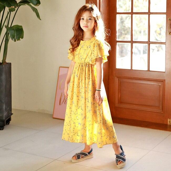 Grande fille mode robe enfant vêtements été automne fille plage fleur longue robe Flare manches robe pour fille robes des grandes tailles