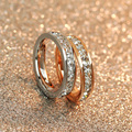 High Quality Women / Man AAA Zircon Couple Rings 3 layer Rose Gold Plated Stainless Steel Wedding Engagement Full Stone Jewelry