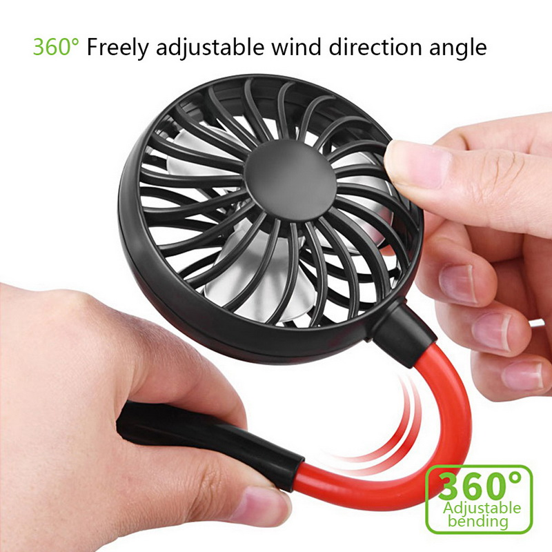 USB Portable Hand Free Neckband Fans Rechargeable 1200mA Battery Operated Dual Wind Head 3 Speed Neck Fan in Fans from Home Appliances