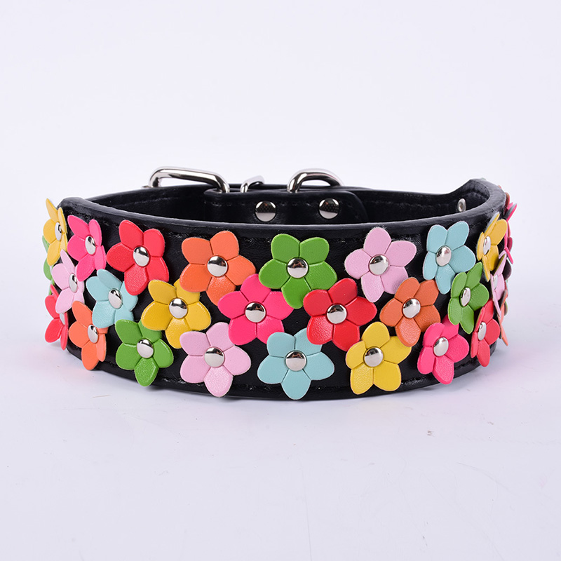 Flower Studded PU Leather Buckle Pet Dog Puppy Collar Adjustable XS/S/M/L Chic Modern Style